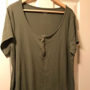 Olive Ribbed Old Navy Tee
